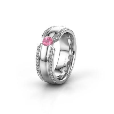 Trouwring WHR0575L 950 platina roze saffier ±7x2 mm