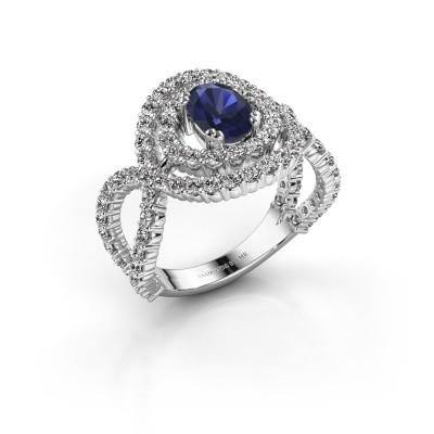 Ring Chau 925 zilver saffier 7x5 mm
