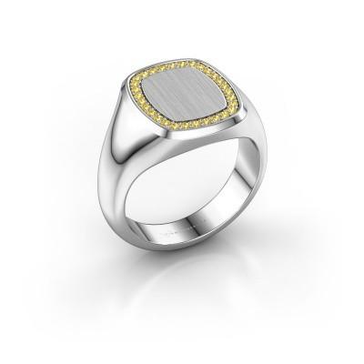 Heren ring Floris Cushion 3 950 platina gele saffier 1.2 mm