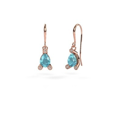 Picture of Drop earrings Bunny 1 375 rose gold blue topaz 7x5 mm