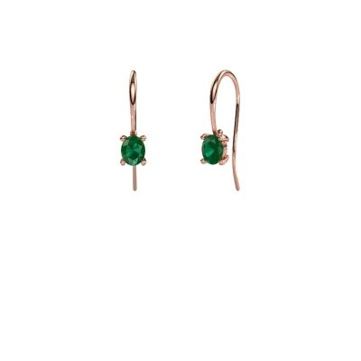 Drop earrings Cleo 375 rose gold emerald 6x4 mm