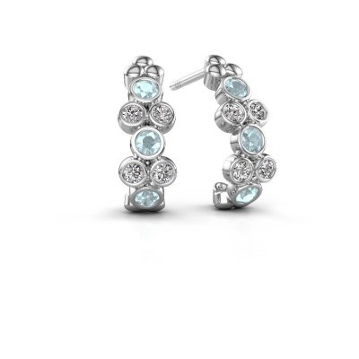 Picture of Earrings Kayleigh 925 silver aquamarine 2.4 mm