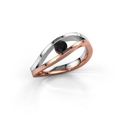 Foto van Aanzoeksring Sigrid 1 585 rosé goud zwarte diamant 0.24 crt