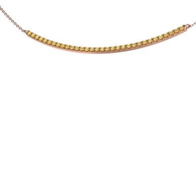 Bar ketting Simona 375 rosé goud gele saffier 1.5 mm