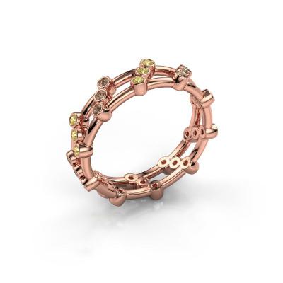 Bague Floortje 585 or rose diamant brun 0.18 crt