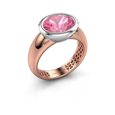 Bague Evelyne 585 or rose saphir rose 10x8 mm