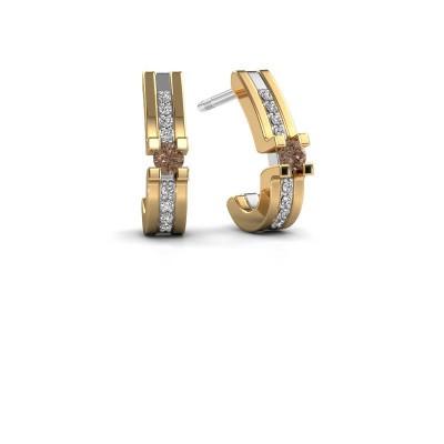 Foto van Oorbellen Myrthe 585 witgoud bruine diamant 0.20 crt