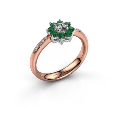 Verlovingsring Camille 2 585 rosé goud smaragd 3.4 mm