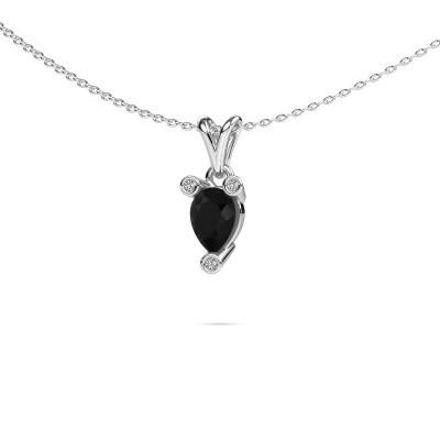 Foto van Ketting Cornelia Pear 950 platina zwarte diamant 0.80 crt