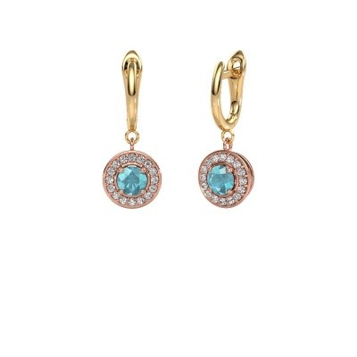 Drop earrings Ninette 1 585 rose gold blue topaz 5 mm