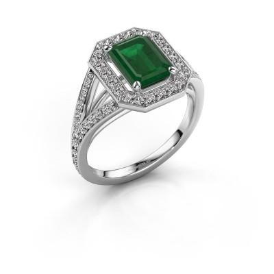 Promise ring Angelita EME 925 zilver smaragd 8x6 mm