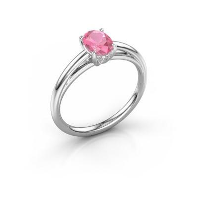 Verlovingsring Haley OVL 1 585 witgoud roze saffier 7x5 mm