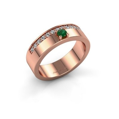 Ring Vicki 375 rosé goud smaragd 3 mm