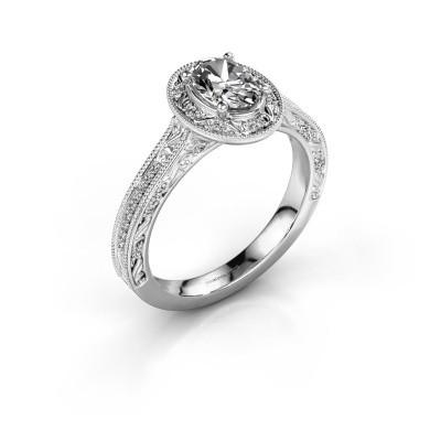 Bague de fiançailles Alice OVL 585 or blanc diamant synthétique 0.905 crt