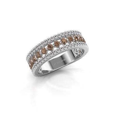 Bague de fiançailles Elizbeth 1 585 or blanc diamant brun 0.84 crt