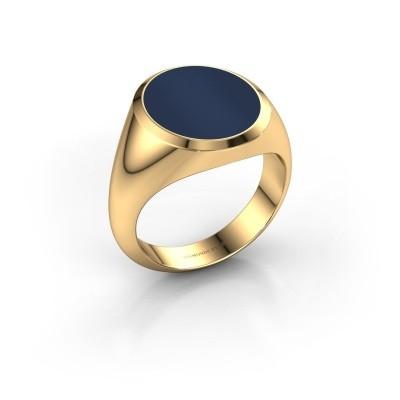 Foto van Zegelring Herman 5 585 goud donker blauw lagensteen 15x13 mm