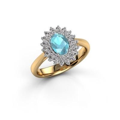 Engagement ring Alina 1 585 gold blue topaz 7x5 mm