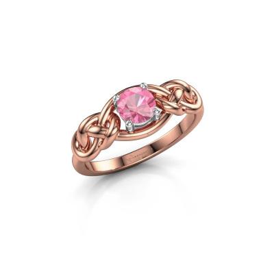 Foto van Ring Zoe 585 rosé goud roze saffier 5 mm