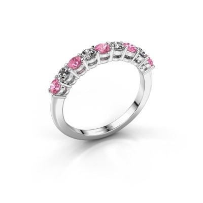 Foto van Belofte ring Michelle 9 585 witgoud roze saffier 2.7 mm