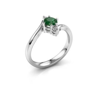 Foto van Verlovingsring Genna 585 witgoud smaragd 5 mm