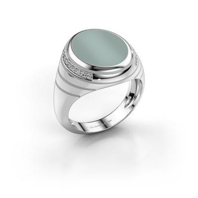 Zegelring Luuk 925 zilver groene lagensteen 15x12 mm