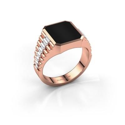 Foto van Rolex stijl ring Brent 2 585 rosé goud onyx 12x10 mm