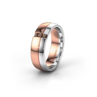 Trouwring WH0223L56A 585 rosé goud rookkwarts ±6x1.7 mm