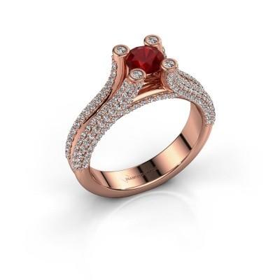 Foto van Verlovingsring Stefanie 2 375 rosé goud robijn 5 mm