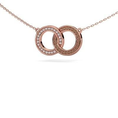 Foto van Ketting Circles 1 375 rosé goud bruine diamant 0.23 crt