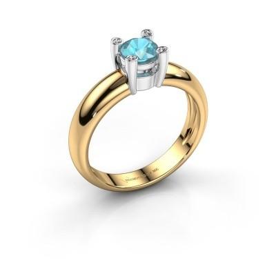 Ring Fleur 585 goud blauw topaas 4.7 mm