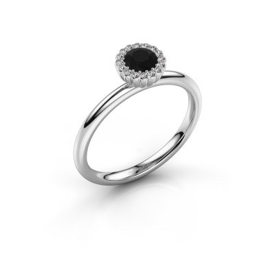 Engagement ring Queen 925 silver black diamond 0.44 crt