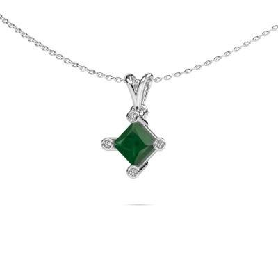 Picture of Pendant Cornelia Square 925 silver emerald 6 mm