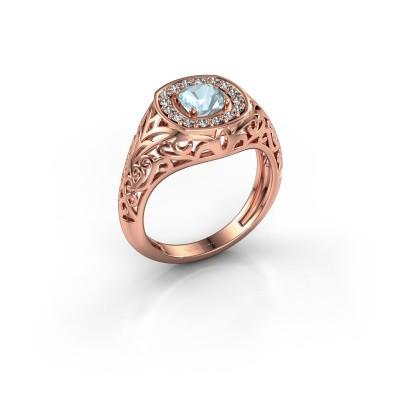 Foto van Heren ring Quinten 375 rosé goud aquamarijn 5 mm