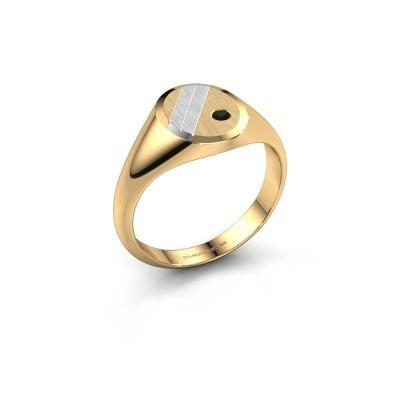 Foto van Pinkring Wesley 1 585 goud zwarte diamant 0.036 crt