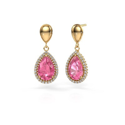 Drop earrings Cheree 1 585 gold pink sapphire 12x8 mm