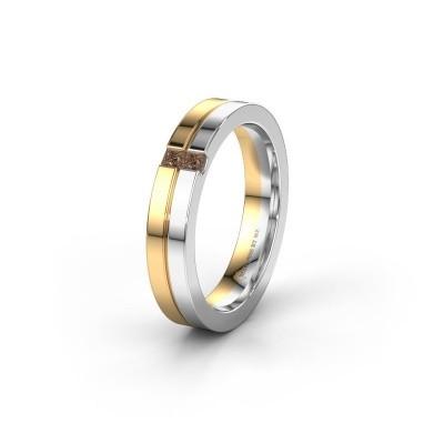 Wedding ring WH0225L14B 585 gold brown diamond ±4x2 mm