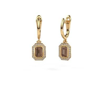 Foto van Oorhangers Noud EME 375 goud bruine diamant 0.70 crt