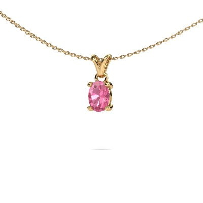 Foto van Ketting Lucy 1 375 goud roze saffier 7x5 mm