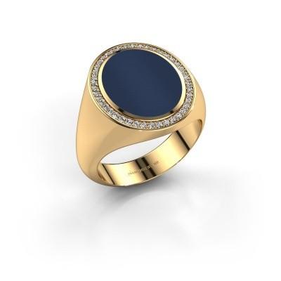 Zegelring Adam 4 375 goud donker blauw lagensteen 15x12 mm