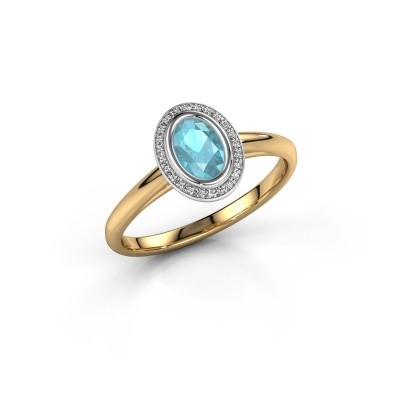 Verlovingsring Noud 1 OVL 585 goud blauw topaas 6x4 mm