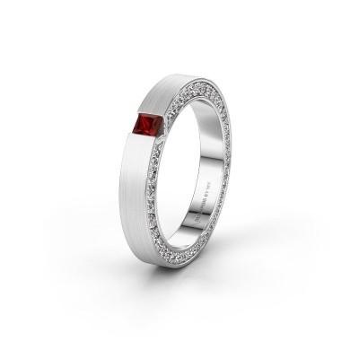 Wedding ring WH2140L14B 925 silver garnet ±3,5x2 mm