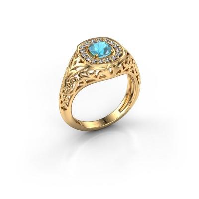 Foto van Heren ring Quinten 585 goud blauw topaas 5 mm