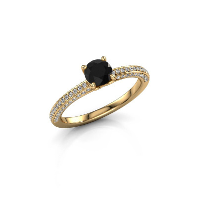 Picture of Engagement ring Elenore rnd 375 gold black diamond 0.60 crt