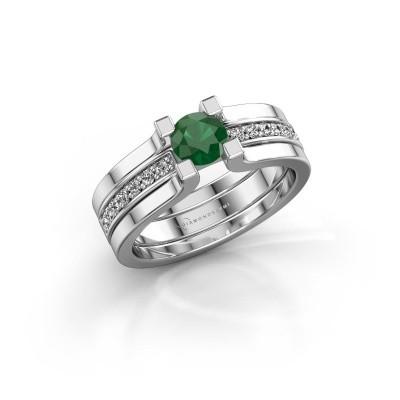 Foto van Verlovingsring Myrthe 585 witgoud smaragd 5 mm