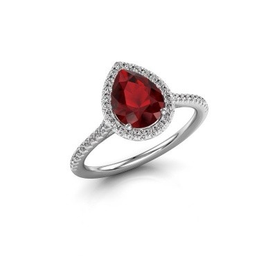 Picture of Engagement ring Monique 2 950 platinum ruby 8x6 mm