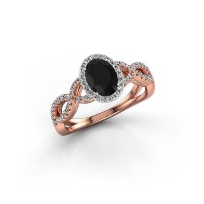 Foto van Verlovingsring Tanesha 585 rosé goud zwarte diamant 1.29 crt