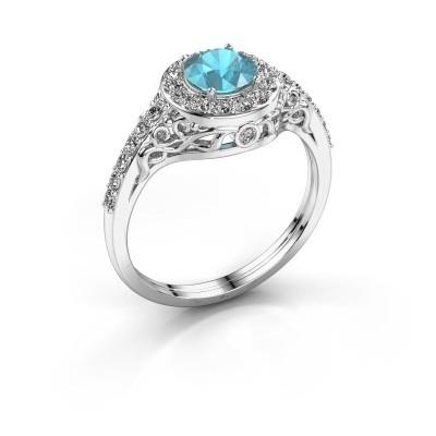 Ring Yurani 950 platina blauw topaas 6 mm