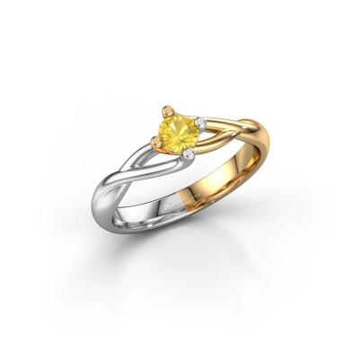 Foto van Verlovingsring Paulien 585 goud gele saffier 4 mm
