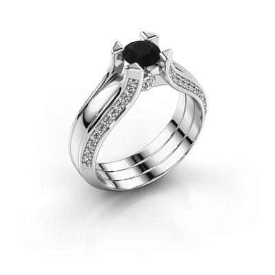 Engagement ring Nadine 585 white gold black diamond 0.96 crt