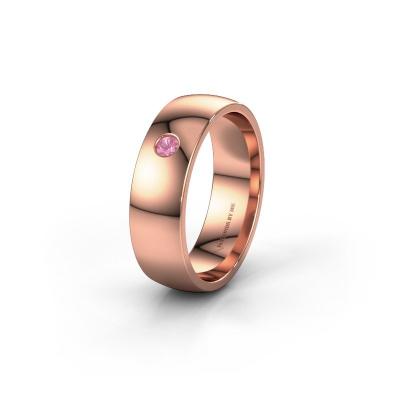 Foto van Trouwring WH0101L26AP 375 rosé goud roze saffier ±6x1.4 mm